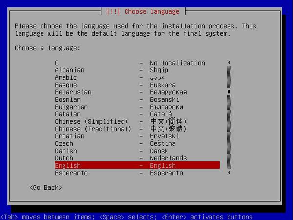 écran debian de choix de langue d'installation