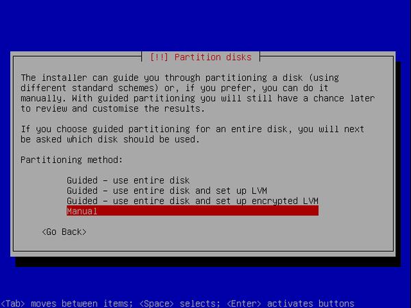écran debian de choix de partitionnement à l'installation