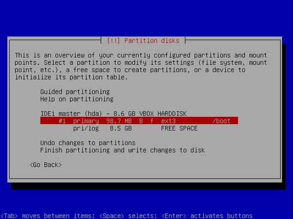écran 4 debian de choix de partitionnement à l'installation