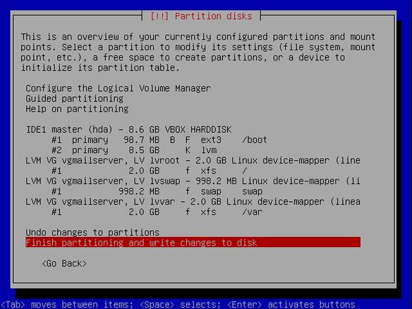 écran 9 debian de choix de partitionnement à l'installation