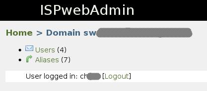Interface de gestion des alias et des utilisateurs